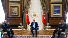 Turkey Recep Tayyip Erdogan (C) and Chief of the General Staff of the Turkish Armed Forces Hulusi Ak