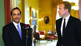Qatar's Foreign Minister HE Sheikh Mohamed bin Abdulrahman al-Thani with his Norwegian counterpart B