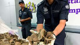 Malaysia customs officers display pangolin scales seized over the weekend