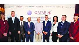 QA Group chief executive Akbar al-Baker (centre) and other dignitaries and officials at the receptio