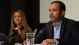 Smartmatic founder and CEO Antonio Mugica speaks during a press briefing in central London on August