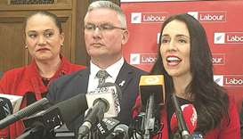 Labour party leader, 37-year-old Jacinta Ardern speaks during a media conference in Wellington.