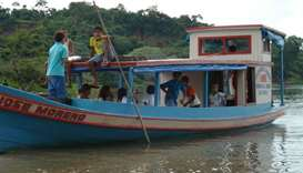 A boat that transports students at Xingu River, Par?. File picture