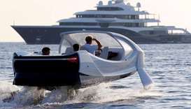 The SeaBubbles water taxi prototype is presented in the harbour of Saint-Tropez