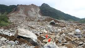 Rescue workers search for survivors at the site of a landslide that occurred in Nayong county, Guizh