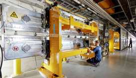 Shows part of the system of the European XFEL X-ray Free Electron laser at the XFEL facility near Ha