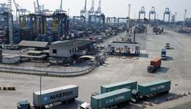 An aerial view of PT Jakarta International Container Terminal (JICT) at Tanjung Priok port in Jakart