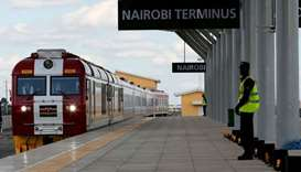 Train arrives on the outskirts of Kenya's capital Nairobi