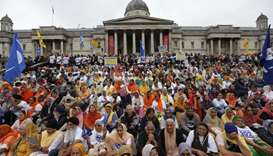 Members of the Sikh community gather to call for a referendum of the Sikh global community