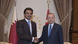 His Highness the Amir Sheikh Tamim bin Hamad Al-Thani with President of the Republic of Turkey Recep