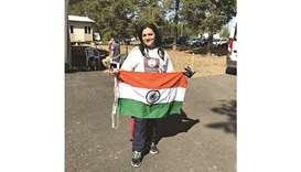 Indian woman skydives with national flag in Finland