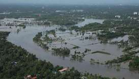 View of a flooded area is pictured in the north part of Kochi