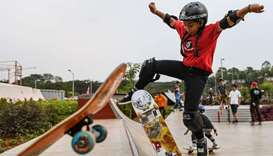 Indonesian skateboarder Aliqqa Noverry