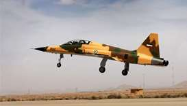 "A handout picture released by Iran's Defence Ministry shows the ""Kowsar"" domestic fighter jet."