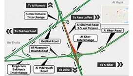 Northbound lanes on Al Shamal Road to be shut for four hours