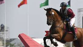 Qatar's Saeed Alrashdi competes at the equestrian competition