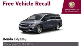 MEC announces recall of Honda Odyssey models of 2011-2016