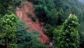 A landslide site in Jajarkot where two houses are buried under debris yesterday. Photo courtesy: The