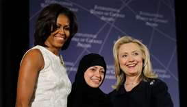 Samar Badawi, seen here with former US secretary of state Hillary Clinton, right, and Michelle Obama