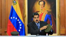 Venezuelan President Nicolas Maduro speaking during the broadcasting of a television programme