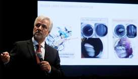 Johann Ebenbichler, Vice President of quality control department of BMW group speaks during a news c