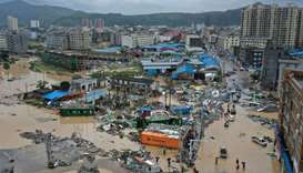 Dajing town is seen damaged and partially submerged in floodwaters in the aftermath of Typhoon Lekim