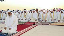 Amir performs Eid Al-Adha prayer