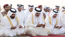 Amir performs Eid al Adha prayer at Al Wajba praying area