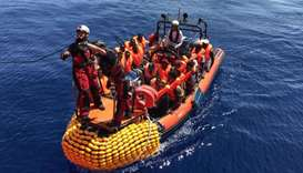 "A ""rhib"", an inflatable dinghy, belonging to the 'Ocean Viking' rescue ship, operated by French NGOs"