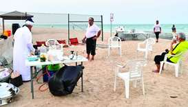 Senior citizens relaxing at one end of Al Wakrah Beach