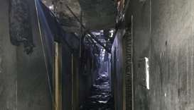 A view shows a corridor of the Tokyo Star hotel that was hit by a heavy fire, in the Black Sea port