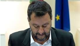 Matteo Salvini attends the National Committee for Order and Public Safety on August 15 in Castel Vol
