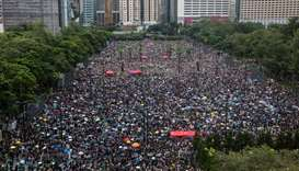 Protesters gather for a rally in Victoria Park in Hong Kong