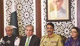 Chairperson of the parliamentary committee on Kashmir Fakhar Imam (left), Qureshi, Major-General Gha