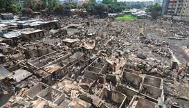 A general view of the slum in Dhaka yesterday after a fire broke out late on Friday at Mirpur neighb