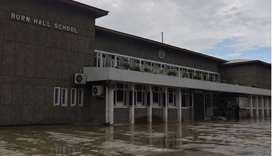 A general view of the front area of an empty school in Srinagar.
