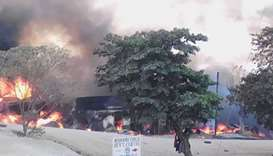 Fire engulfs shops at Kyambura trading centre in western Uganda after a fuel truck rammed into two c