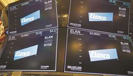 Monitors display Elanco Animal Health Inc signage on the floor of the New York Stock Exchange (file)
