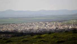 A general view shows Khan Sheikhoun in the southern countryside of Idlib