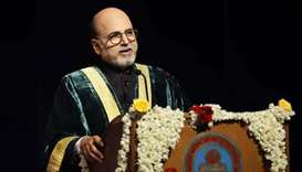 Doha Bank CEO Dr R Seetharaman delivering a speech during 'Graduation Day' of Shrimathi Devkunvar Na