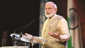Prime Minister Narendra Modi addresses the Indian Community at Unesco headquarters in Paris yesterda