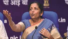 Union Finance Minister Nirmala Sitharaman speaks as she attends a press conference in New Delhi yest