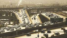 Los Angeles traffic on the 105 freeway near the 405 interchange in Southern California.