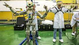 Russian humanoid robot Skybot F-850 (Fedor) being tested ahead of its flight on board Soyuz MS-14 sp