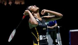 India's Pusarla Sindhu reacts during her final women's singles match against Japan's Nozomi Okuhara