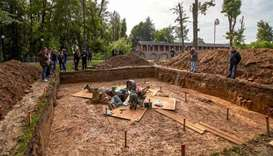 Archaeologists work oat a site of the supposed burial place of French General Charles Etienne Gudin
