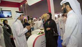 Her Highness Sheikha Moza bint Nasser visits the third edition of 'Najah Qatari' festival Thursday