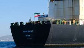 In this file photo taken on August 18, 2019 an Iranian flag flutters on board the Adrian Darya oil t