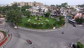 A deserted intersection is pictured in Jammu
