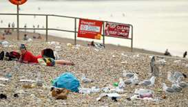 A beachgoer looks across at seagulls pecking on trash on the beach, amid the coronavirus disease (CO